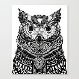 Meditative Ink Owl Canvas Print