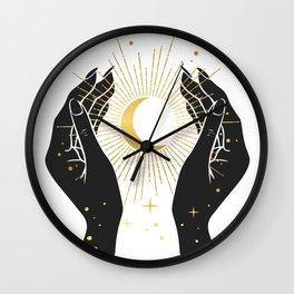 Gold La Lune In Hands Wall Clock