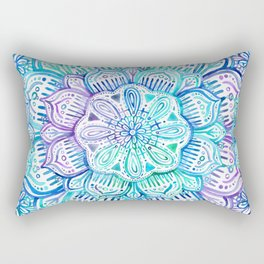 Iridescent Aqua and Purple Watercolor Mandala Rectangular Pillow