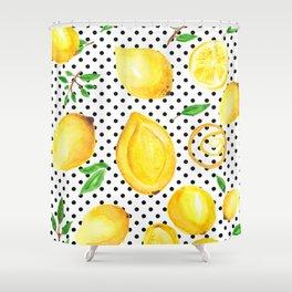Lemon polka dots Shower Curtain