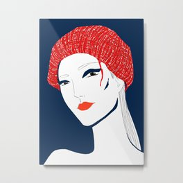 the girl with the hat Metal Print