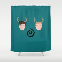 true detective Shower Curtains featuring Rust & Marty from True Detective by InQuadricromia