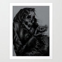 Skeleton Holding Diamond Art Print