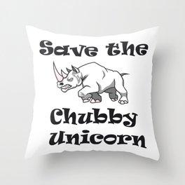 Save the Chubby Unicorn Rhinos Earth Day Environmental Throw Pillow
