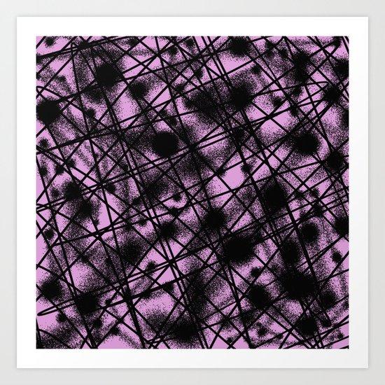 Web Of Lies - Black and pink conceptual, abstract, minimalistic artwork Art Print
