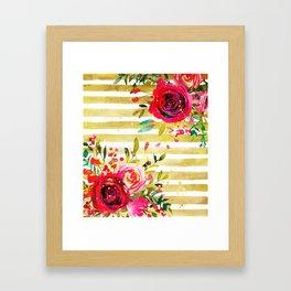 Flowers & Stripes 2 Framed Art Print