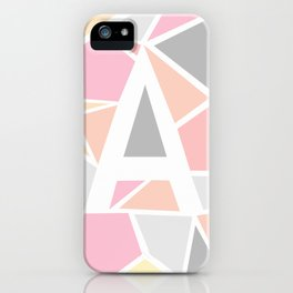 Letter A Geometric Shapes in Warm Colors iPhone Case