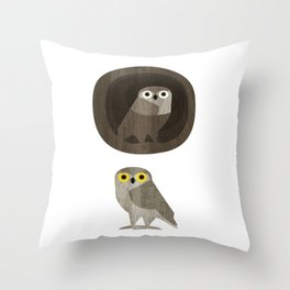 Two little owls Throw Pillow