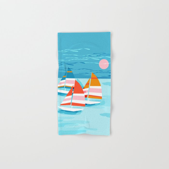 Popin - memphis sports retro throwback neon sailing sailboat cool rad gnarly trendy watersports Hand & Bath Towel