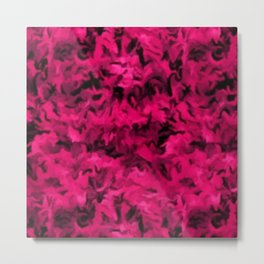 Retro Abstract Magenta Rose Posie Pink Metal Print