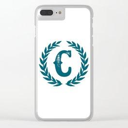 Dark Teal Monogram: Letter C Clear iPhone Case