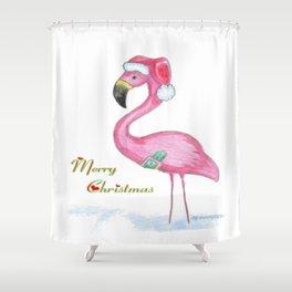 Flamingo Merry Christmas Shower Curtain