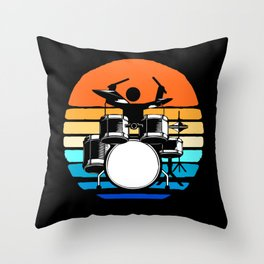 Drummer Retro Vintage Sunset Colorful Drumset Drum Throw Pillow