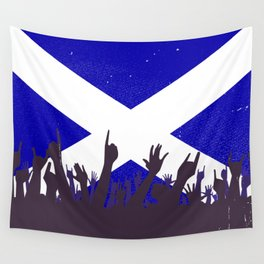 Scotland Flag with Audience Wall Tapestry