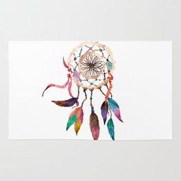 Native American Boho Vibrant Watercolor Beaded Dreamcatcher Rug