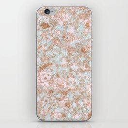 Mint Blush & Rose Gold Metallic Marble Texture iPhone Skin