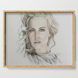 Charlize Theron artwork portrait Serving Tray