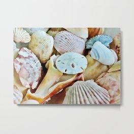 Seashell Watercolor Metal Print