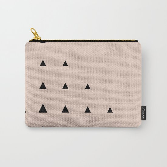 Black Triangles on Blush Carry-All Pouch
