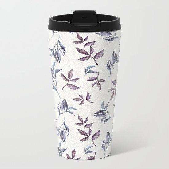 Watercolor cold leaves pattern Metal Travel Mug