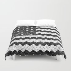 Black Zig Zag Flag Duvet Cover