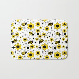 Honey Bumble Bee Yellow Floral Pattern Bath Mat