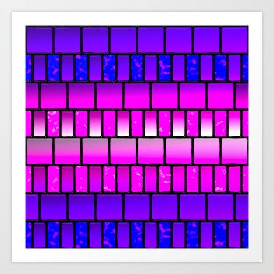 Pink and Blue Offset Tiles Pattern Art Print