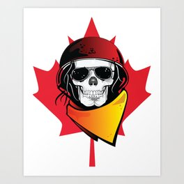 Canadian Rebel Zombie Apocalypse Skull Art Print