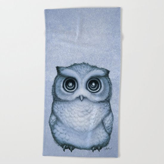"""The Little Owl"" by Amber Marine ~ (Blueberry Version) Graphite & Ink Illustration, (c) 2016 Beach Towel"