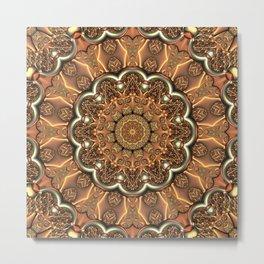 Molten Copper Mandala Metal Print