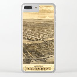 Bird's Eye View of Victoria, British Columbia, Canada (1878) Clear iPhone Case