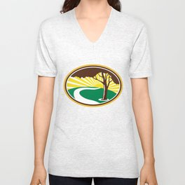 Pecan Tree Winding River Sunrise Retro Unisex V-Neck