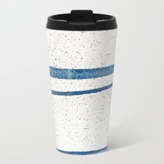 Parallel Universe [horizontal]: a pretty, minimal, abstract piece in lines of vibrant blue and white Metal Travel Mug