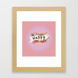 Watercolor Happy Flowers Banner Framed Art Print