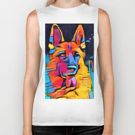 German Shepherd Watercolor Biker Tank