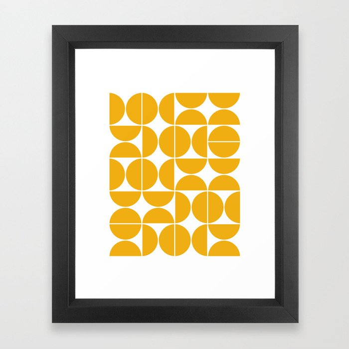 Mid Century Modern Geometric 04 Yellow Gerahmter Kunstdruck