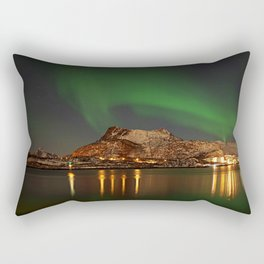 Landscape with the Northern Lights Rectangular Pillow