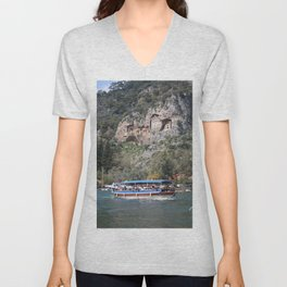 Quintessentially Dalyan: River Boats and Rock Tombs Unisex V-Neck