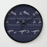 sweater Wall Clocks featuring Ugly Sweater by Sarinya  Withaya