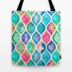 Watercolor Ogee Patchwork Pattern Tote Bag