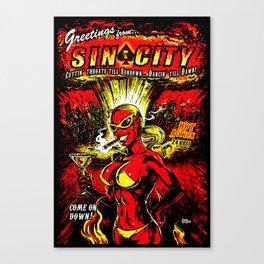 Devil Girl Sin City Atom Bomb Canvas Print