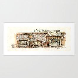 Kolkata India Sketch in Watercolor | City View | Street Newsstand | Calcutta West Bengal Art Print