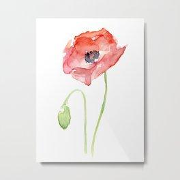 Red Poppy Flower Flowers Metal Print
