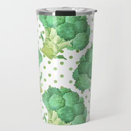 Broccoli on Green dotted Background Travel Mug