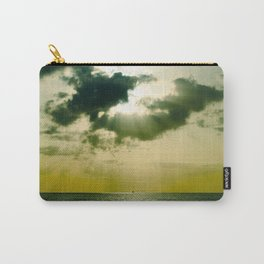 Green Sepia Monochromatic Ocean Clouds Photo Sun Shining Through Clouds Carry-All Pouch