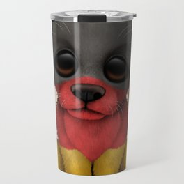 Cute Puppy Dog with flag of Germany Travel Mug