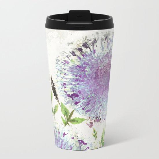 Dandelions Aquamarine Mauve Metal Travel Mug