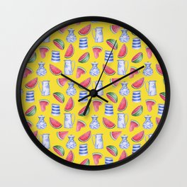 Melons and Jugs Pattern Yellow Wall Clock