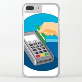 Hand Swiping Credit Card on POS Terminal Retro Clear iPhone Case