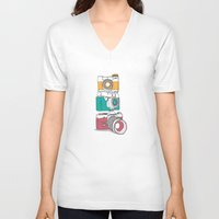 cameras V-neck T-shirts featuring Stacked Cameras by Benjamin.draws